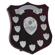 "CHAMPION SILVER 12"" ANNUAL SHIELD with 9 SIDE SHIELDS & TOP SCROLL"